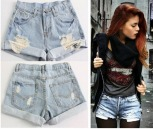 Short Jeans Destroyed de cintura Alta